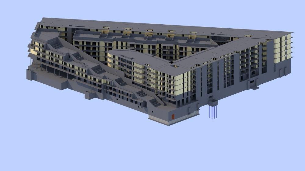 3D-Modell der Konstruktion im Hochbau